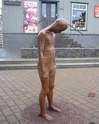Sad statue in Reykjavik